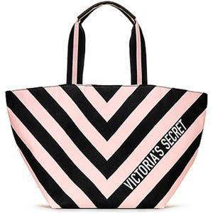 NWT Victoria's Secret Striped Zipper Tote
